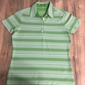 Nike green and white striped golf polo sz S